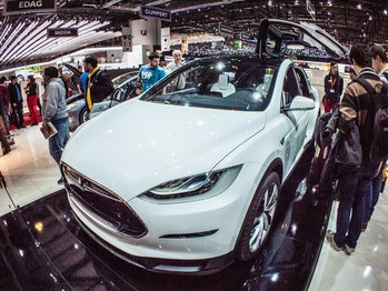 The Tesla Model X has a unique falcon wing door mechanism.