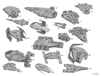 Some unused Falcon designs. I spy some B-Wing and TIE Interceptor bits.