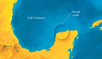 The Chicxulub crater, on the Yucatan peninsula is believed to be the impact that killed the dinosaurs
