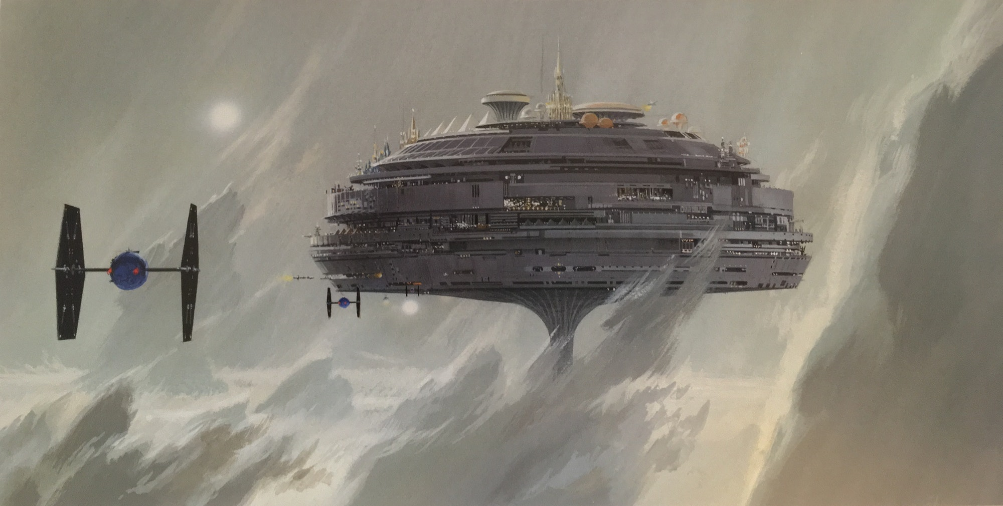 """Ralph McQuarrie's""""Imperial City, Alderaan -- city floats in gray clouds"""" version 2 for the original 1977 film."""