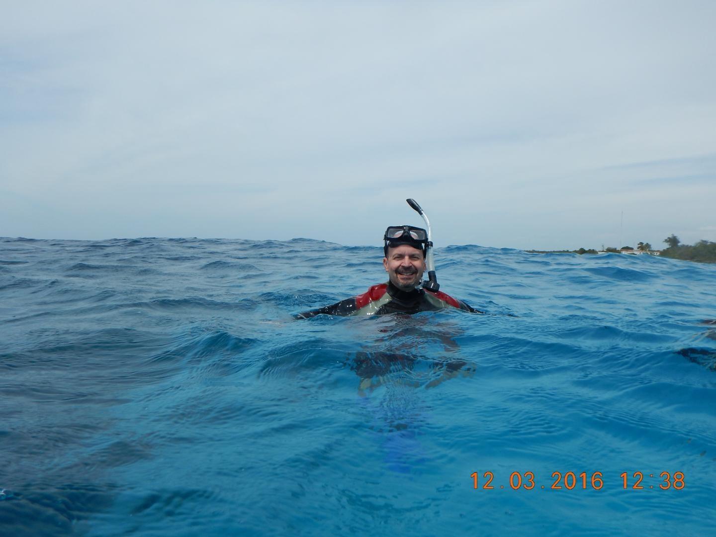 University of Vermont marine biologist Joe Roman snorkeling off the coast of Cuba.