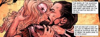 Wonder Woman's mother Queen Hippolyta sucking face with Zeus.