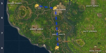 This is the most efficient route to try finishing the Challenge to visit Taco Shops in 'Fortnite'.