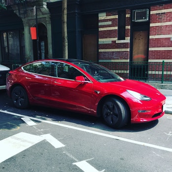 A Tesla Model 3 on the street in New York.