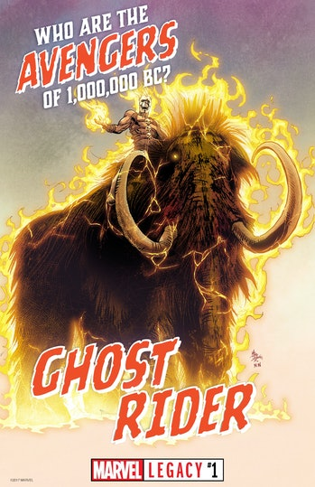 Ghost Rider on a Wooly Mammoth.