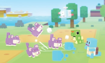 Look at this Squirtle totally wreck this group of Rattatas in 'Pokémon Quest'.