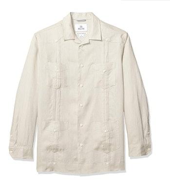 28 Palms Men's Relaxed-Fit Long-Sleeve 100% Linen 4-Pocket Pleated Guayabera Shirt
