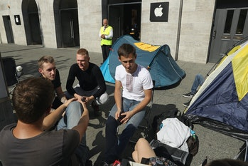 Apple fans from eastern Europe camp out in front of the Berlin Apple store ahead of tomorrow's sales launch of the new Apple iPhone 7 on September 15, 2016 in Berlin, Germany.