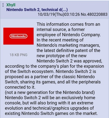 4chan nintendo switch 2 leak rumor