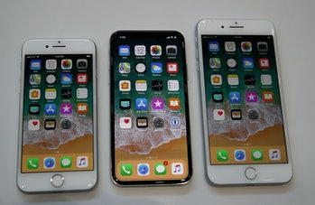 The new iPhone 8, iPhone X and iPhone 8 Plus.