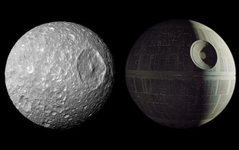 Mimas looks like the Death Star in this image from Cassini in 2010.