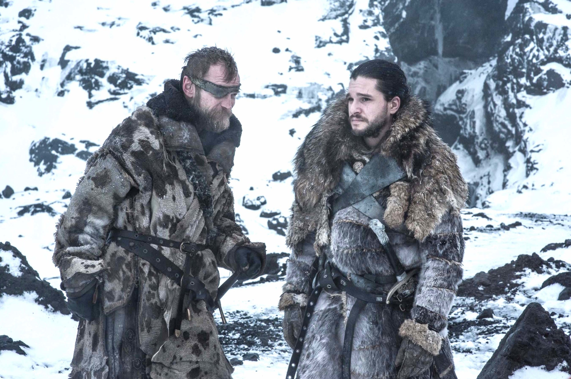 """Kit Harington as Jon Snow and Richard Dormer as Beric Dondarrion in 'Game of Thrones' Season 7 episode 6, """"Beyond the Wall"""""""