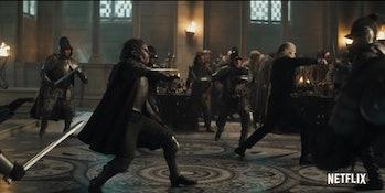 Duny and Geralt battle Cintrian Forces Witcher Netflix