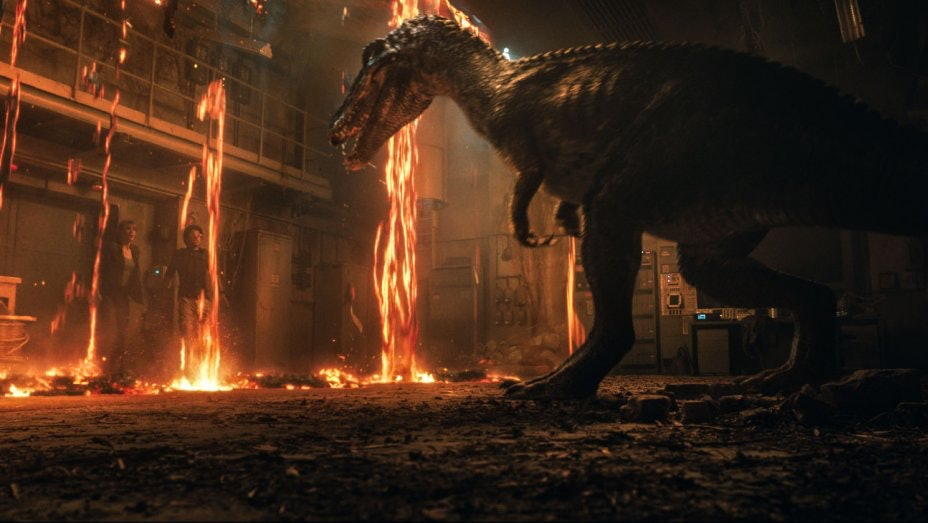 Claire and newcomerFranklin Webb (Justice Smith) have to survive amidst angry, hot dinosaurs and tons of lava in 'Jurassic Park: Fallen Kingdom'.