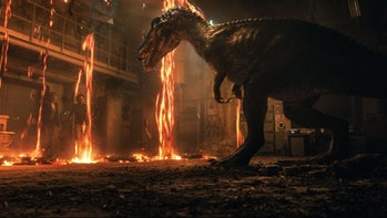 Claire and newcomer Franklin Webb (Justice Smith) have to survive amidst angry, hot dinosaurs and tons of lava in 'Jurassic Park: Fallen Kingdom'.