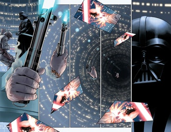 Vader watches as his old lightsaber falls to its doom.