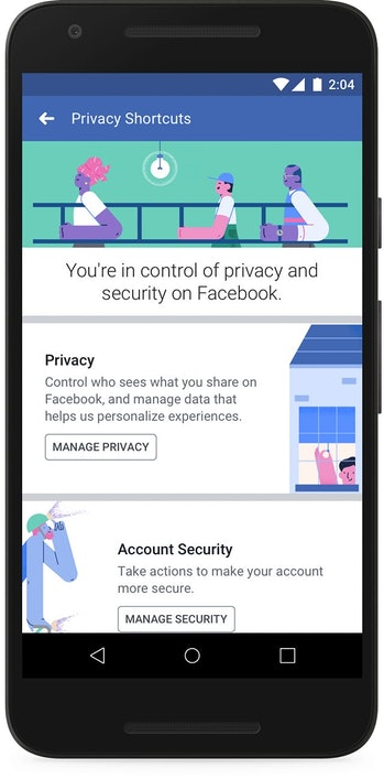 Facebook's Privacy Shortcuts menu.