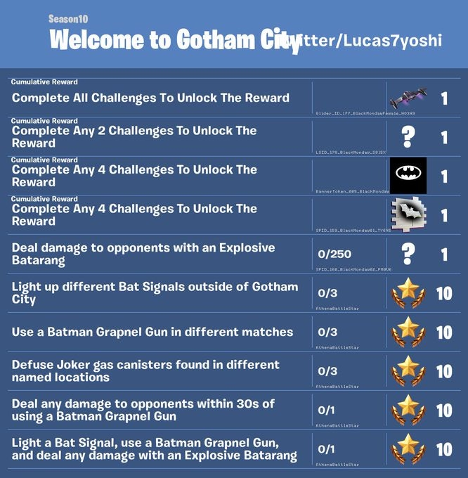 fortnite batman challenges