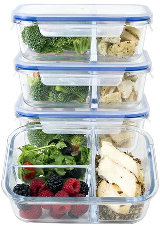 3 Compartment Glass Meal Prep Containers - 4 Pack