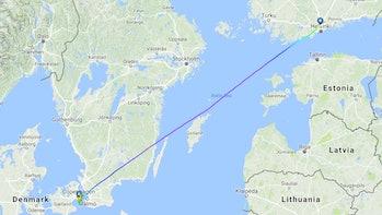 The flight's path.