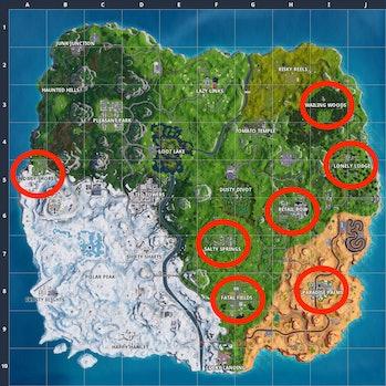 'Fortnite' doorbell locations for the Season 7 Week 3 challenge.