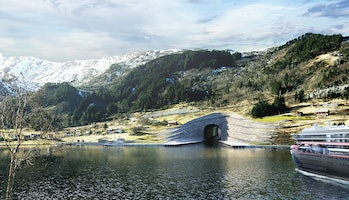 The entrance is proposed to be built out of terraces, owing to the reality of the local rock formations.