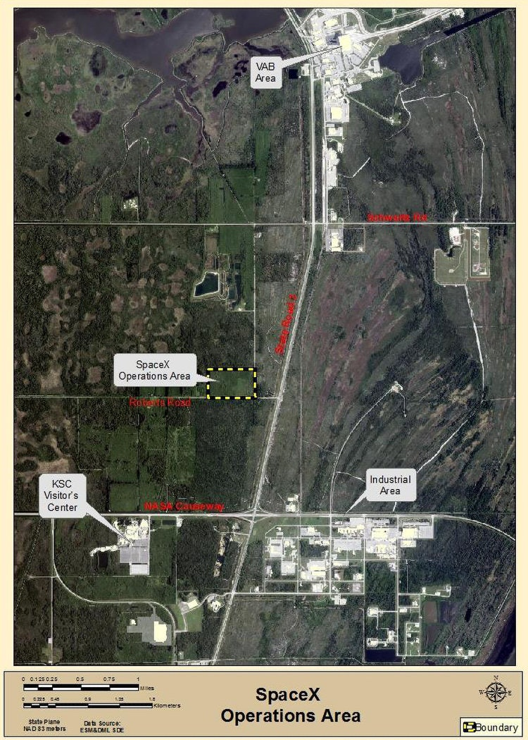 Map showingthe rough location of the proposed SpaceX Operations Area