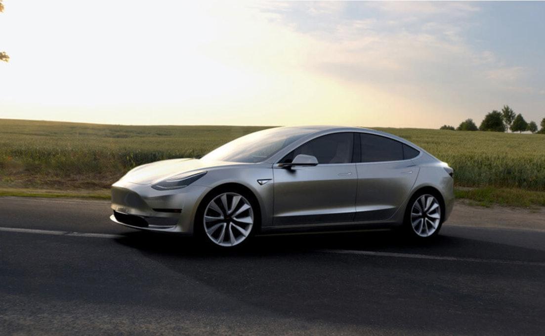 Promo renderings of the Tesla Model 3.