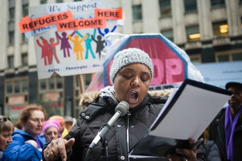 Myra Young speaks about living in poverty this week during a protest in Philadelphia of President Trump's nomination of Andy Puzder for Secretary of Labor.
