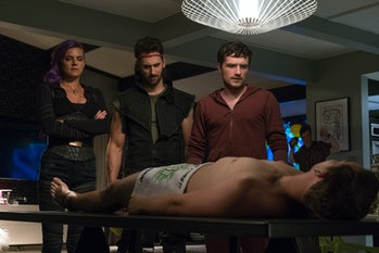Josh looks down at the dead body of Joosh.