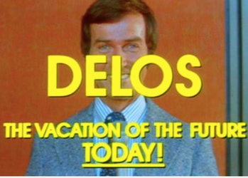 Delos, the fictional company that runs 'Westworld,' as depicted in the 1980 TV series 'Beyond Westworld'
