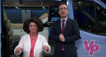 "John Oliver and his ""wife,"" Wanda Jo, played by Rachel Dratch."