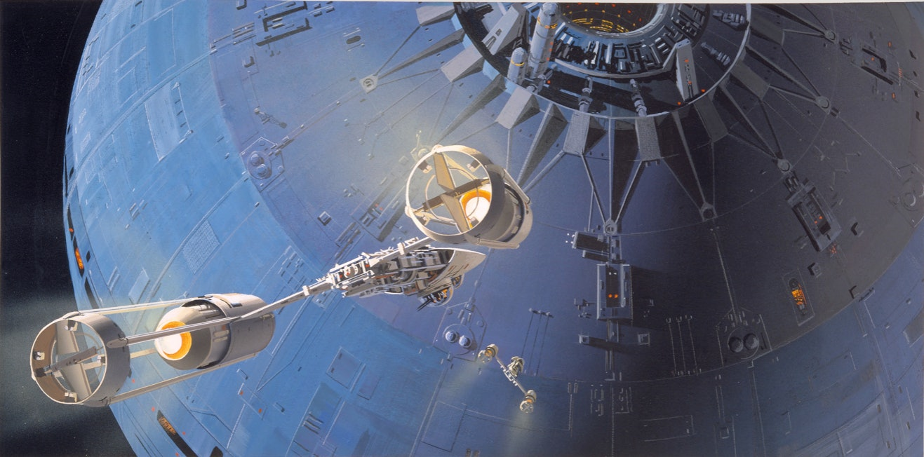 A production painting created by Ralph McQuarrie to visualize the original Star Wars
