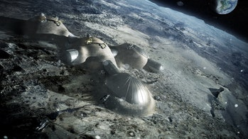 A European Space Agency depiction of a moon base.
