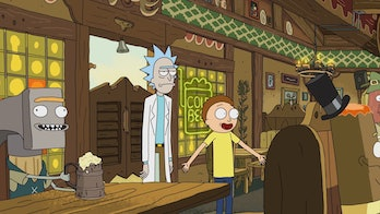 Morty leads and Rick follows happily.
