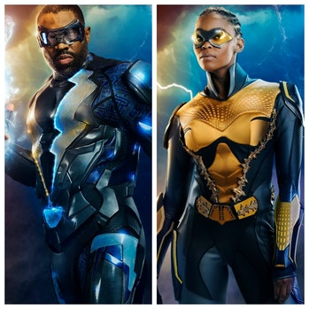 Left: Cress Williams as the superhero Black Lightning. Right: Nafessa Williams, suited up as Thunder...