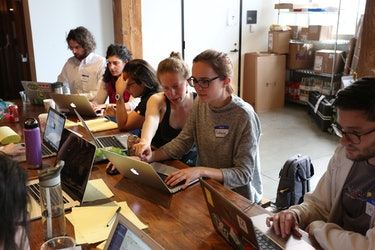 Coders work diligently on abortion access apps at the Hackathon in San Francisco