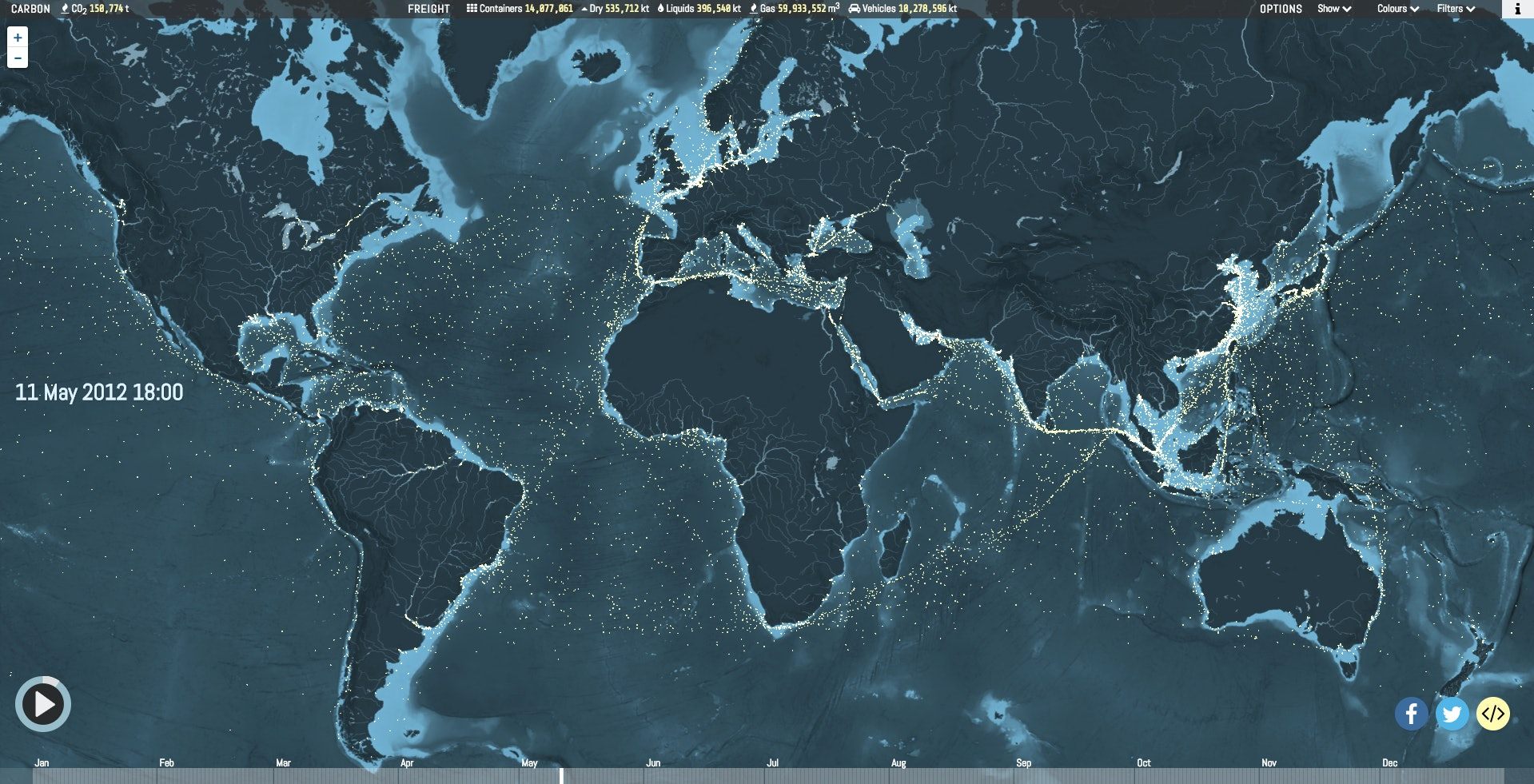 ShipMap.org maps out cargo ships as they move across the world throughout the year.