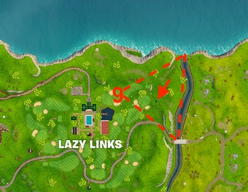 'Fortnite' search between a covered bridge, waterfall, and the 9th green