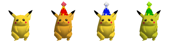 Alternate skins for Pikachu in the original 'Super Smash Bros.' featured party hats.