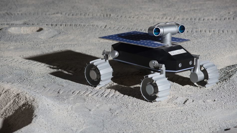 A view of the Team Indus lunar rover.