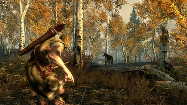 """Crouching"" allows you to ""Sneak"" and do bonus damage with attacks in 'Skyrim'."