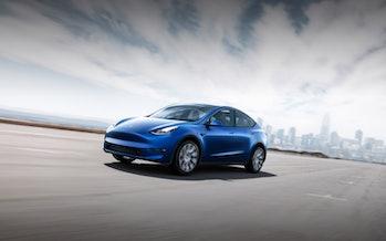 Tesla Model Y in blue.