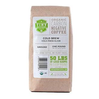 Tiny Footprint Coffee, Organic Cold Brew Cold Press Elixir, Ground Coffee 16 oz.