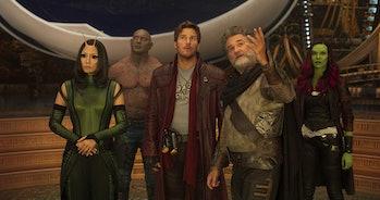 Pom Klementieff, Dave Bautista, Chris Pratt, Kurt Russell and Zoe Saldana in in Guardians of the Galaxy Vol. 2