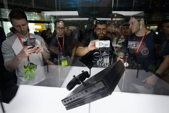 The Xbox One X is displayed during the Electronic Entertainment Expo E3 at the Los Angeles Convention Center on June 13, 2017 in Los Angeles.