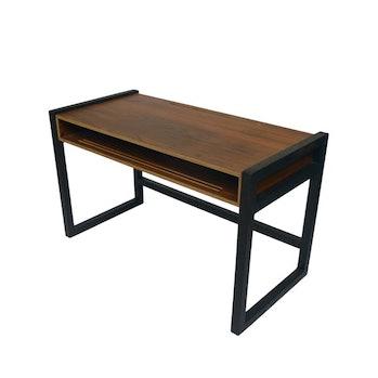 A brown desk.