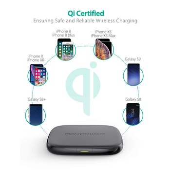 RAVPower Qi-Certified 10W Fast Wireless Charger for Galaxy S9+ S9 S8+ S8 Note 8 with HyperAir,7.5W C...