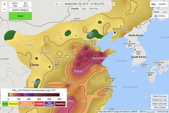 air pollution china Beijing map parade day