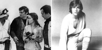 LEFT: Luke, Fixer, Camie and Biggs in a deleted scene from 'Star Wars: A New Hope.' RIGHT: Mark Hamill as Luke Skywalker in 1976.